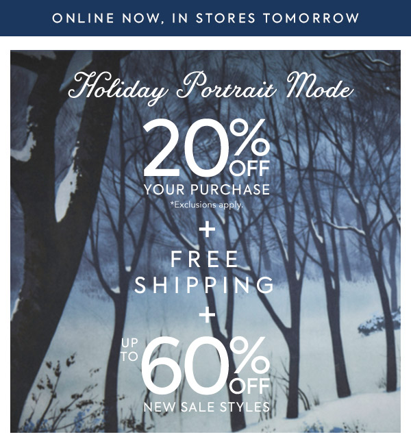 Free Shipping + 20% Off Your Purchase